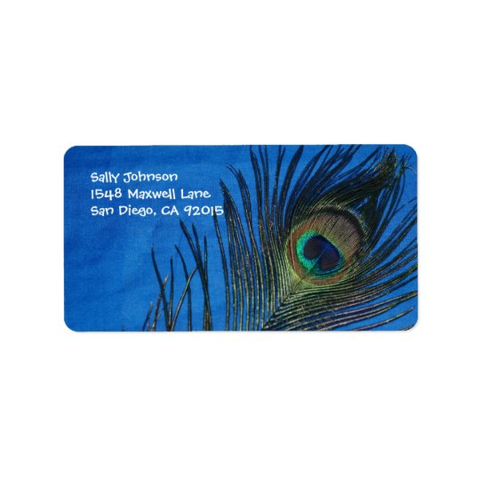 Blue Single Peacock Feather Label