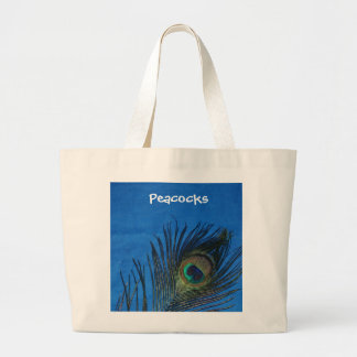Blue Single Peacock Feather Large Tote Bag