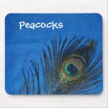 Blue Single Peacock Feather Mouse Mat
