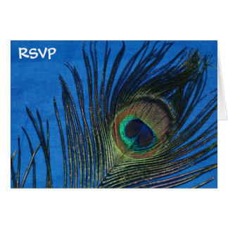 Blue Single Peacock Feather Wedding RSVP Card