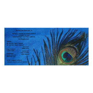 Blue Single Peacock Wedding Program Rack Card