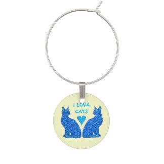 Blue Sitting Cat I Love Cats Wine Glass Jewelry Wine Charm