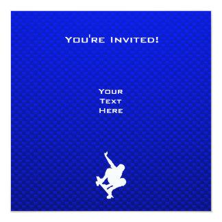 Blue Skateboarding 13 Cm X 13 Cm Square Invitation Card