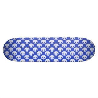 Blue Skatedeck with White Toon Skulls Skate Decks