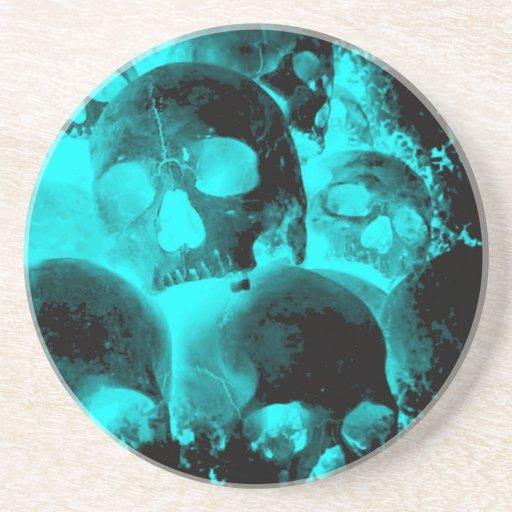 blue skeleton heads drink coasters