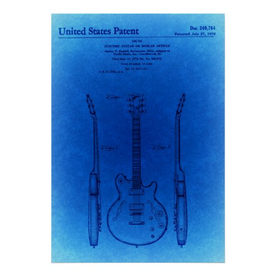 Blue Sketch Jazz hollow body style guitar Patent