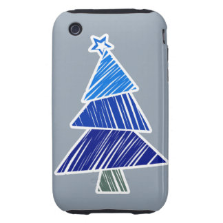 Blue Sketchy Christmas Tree 3G/3GS Case-Mate iPhone 3 Tough Cases