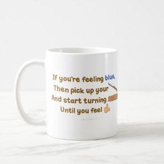Blue Skew Woodturning Poem Coffee Mug