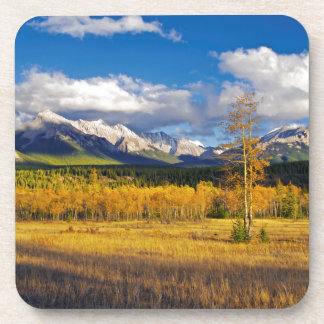 Blue skies and clouds above a meadow drink coasters