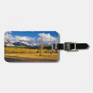 Blue skies and clouds above a meadow luggage tag