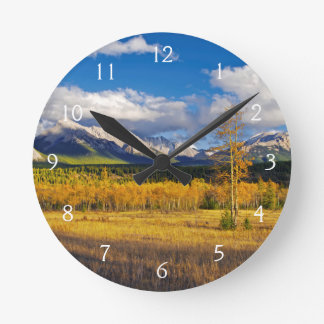 Blue skies and clouds above a meadow round clock