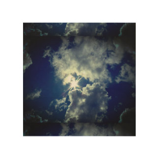 Blue skies and puffy white clouds. wood wall art