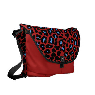Blue Skies and red leopard print fashion design Commuter Bags
