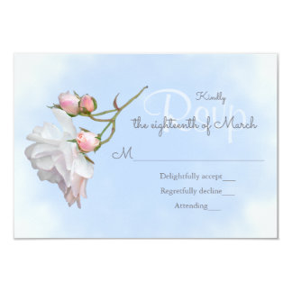 Blue Skies and Roses Wedding Invitation RSVP