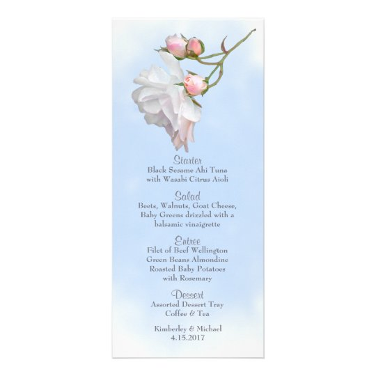 Blue Skies and Roses Wedding Menu Personalized Rack Card