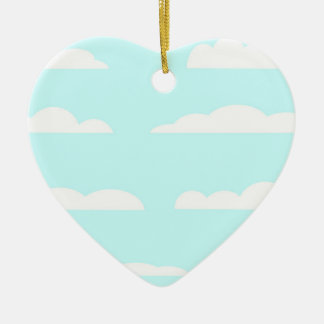 Blue Skies Background Ceramic Heart Decoration
