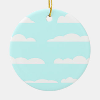 Blue Skies Background Round Ceramic Decoration