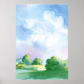 blue skies Watercolor Poster