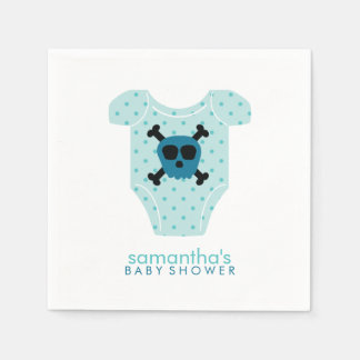 Blue Skull and Bones Baby Outfit Baby Shower Disposable Serviette