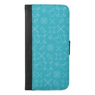 Blue Skull and Bones pattern iPhone 6/6s Plus Wallet Case