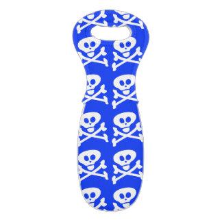 Blue Skull and Crossbones Wine Tote Wine Bags