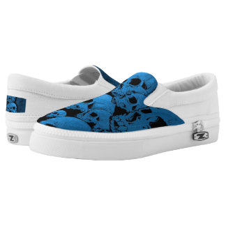 Blue Skull Custom Zipz Slip On Shoes