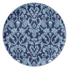 Blue skull damask pattern plate