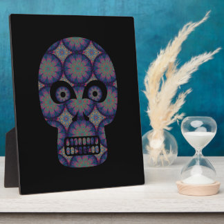 Blue Skull Fractal Pattern Plaque