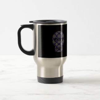 Blue Skull Fractal Pattern Travel Mug