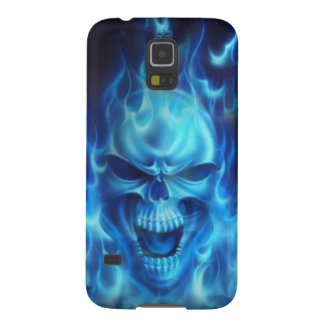blue skull head with flames galaxy s5 case