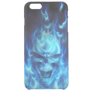 blue skull head with flames tribal clear iPhone 6 plus case
