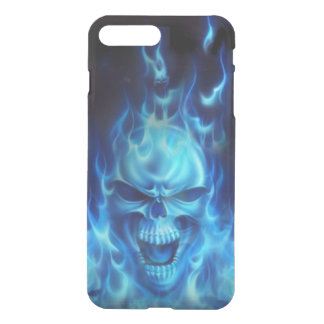 blue skull head with flames tribal iPhone 7 plus case