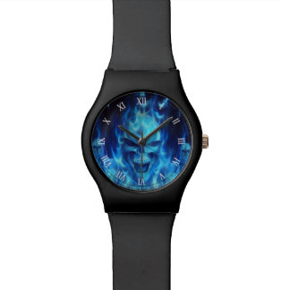 blue skull head with flames watch