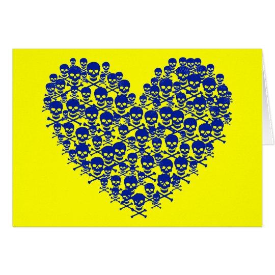 Blue Skull Heart Card