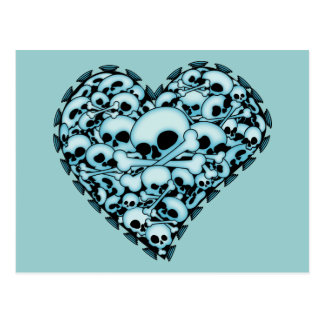 Blue Skull Heart Postcard