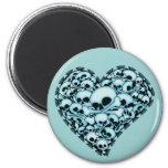 Blue Skull Heart Refrigerator Magnets