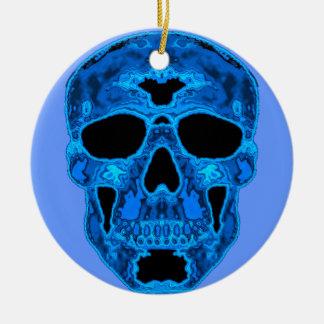 Blue Skull Horror Mask Christmas Ornament