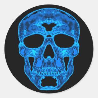 Blue Skull Horror Mask Classic Round Sticker