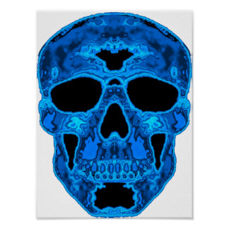 Blue Skull Horror Mask Poster