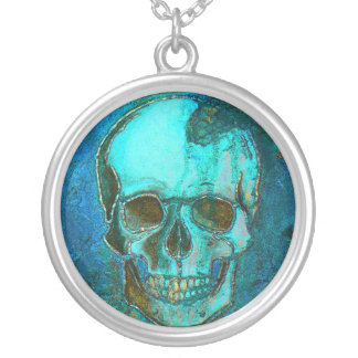 Blue Skull Round Pendant Necklace