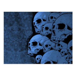 Blue skull  pattern postcard
