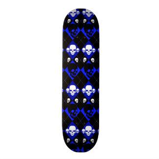 Blue Skull Pattern Skateboard