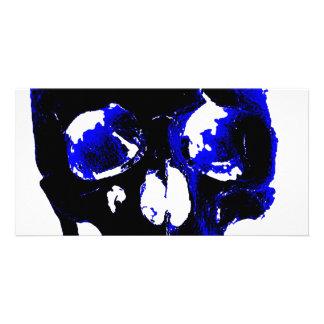 Blue Skull Pop Art Fantasy Photo Greeting Card