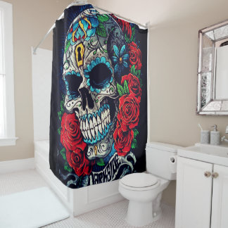 blue skull red roses all over shower curtain