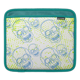 Blue skulls with bright green splashes iPad sleeve
