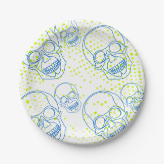 Blue skulls with bright green splashes paper plate