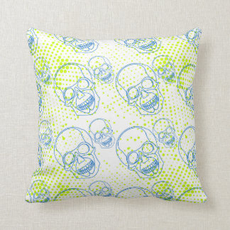 Blue skulls with bright green splashes throw pillow