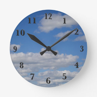 Blue Sky and Clouds - Black Numbers Round Clock