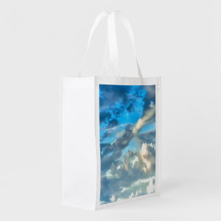 BLUE SKY AND CLOUDS PHOTOGRAPH REUSABLE GROCERY BAG