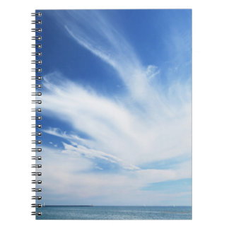 Blue sky and clouds spiral notebook